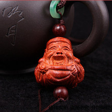 Chinese folk art small decorative wood crafts wealth god shape design for wholesale