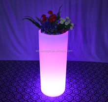 Led plastic flower pot inserts,waterproof rechargeable led lighted planter pots