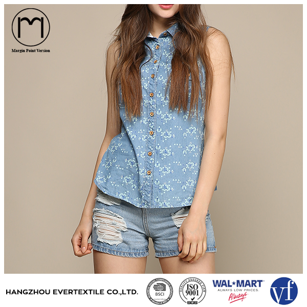 2016 New arrival summer ladies Sleeveless sexy denim blouses for women