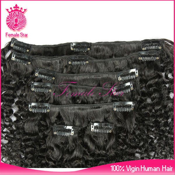 wholesale afro kinky curly seamless clip in hair extensions for children