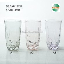 16oz Embossed Drinking Glass Cup with Color Bottom