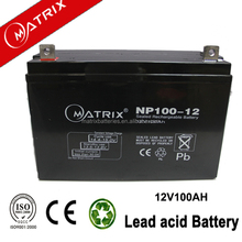 matrix lead acid battrey agm battery 12v 100ah rechargeable for solar