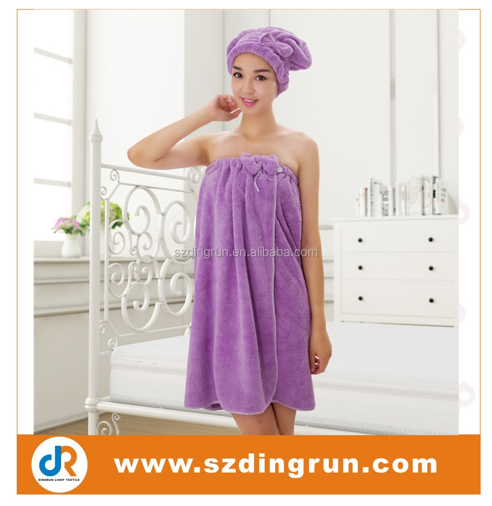 100% Cotton Women Bath Towel Dress Girls Sexy Bath Wrap with Hair Drying Towel