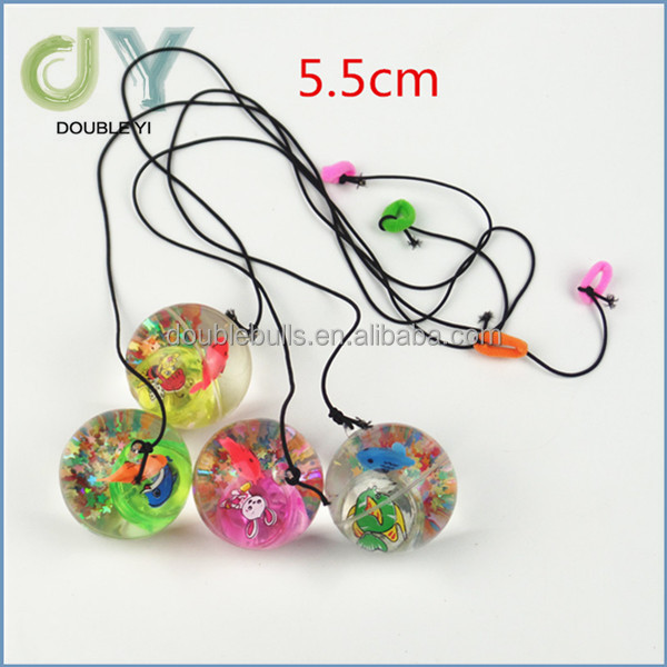 Hot selling cheap 55mm rubber Led bouncy ball with string