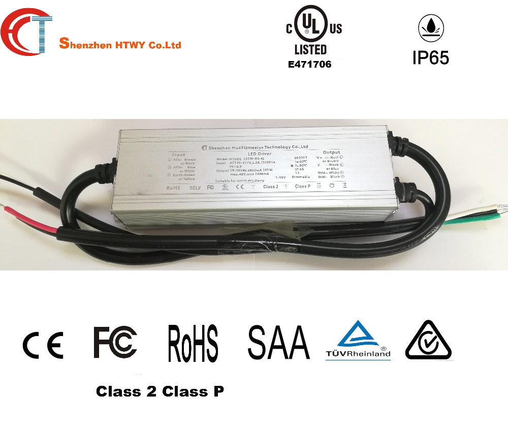 0/1-10V dimming led driver 80W 100W 120W LED constant current driver Shenzhen factory IP 65 class 2 36Volt led power supply