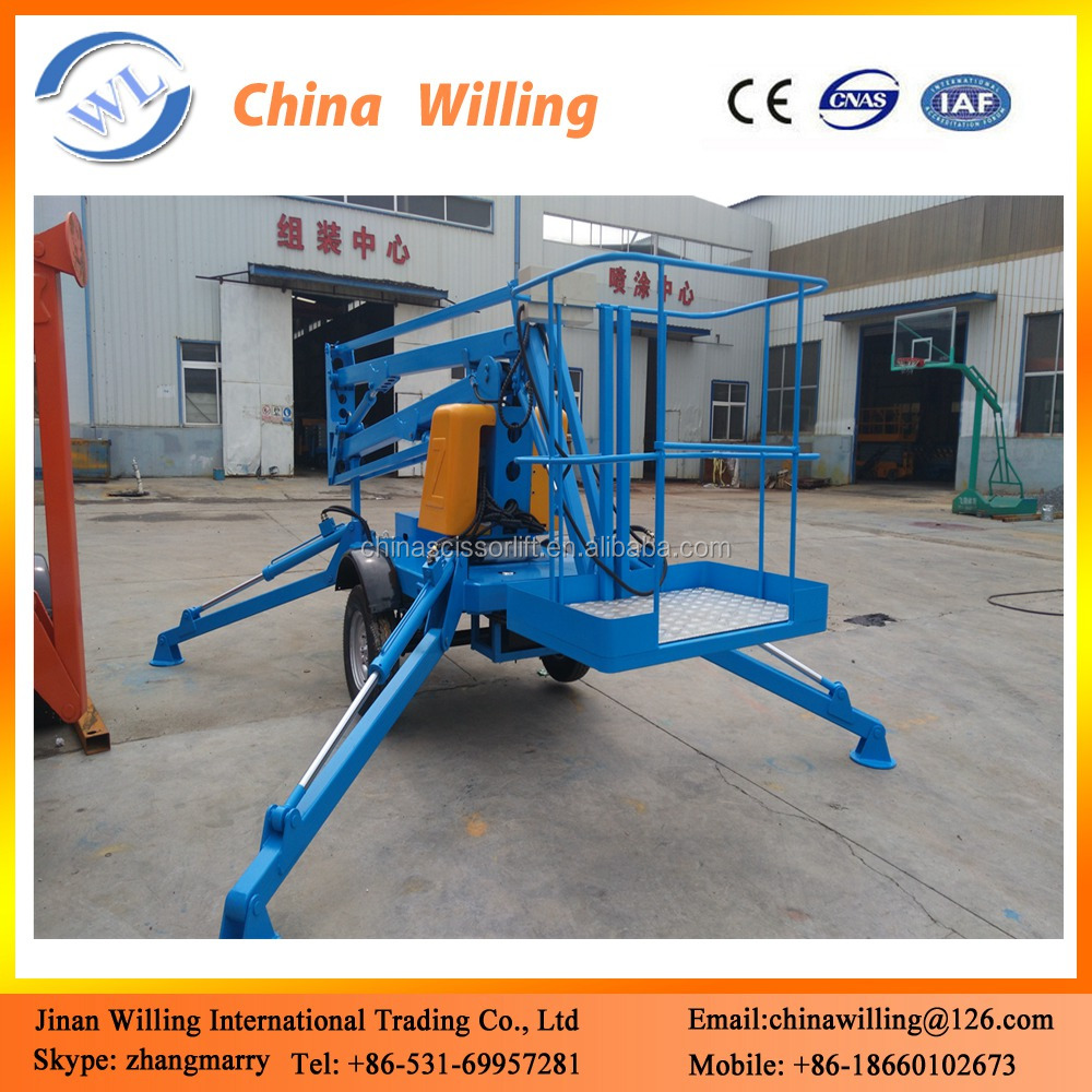 portable mobile aerial work platform lifts articulated boom lift with wheels