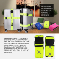2016 New design fluorescent cross polyester luggage strap belt