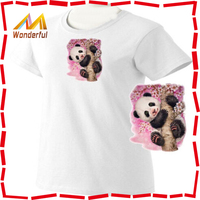 Panda Bear Cub Climbing Cherry Blossom Tree Ladies Classic Fit White T Shirt