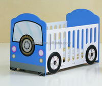 2016 new design baby crib was made by E1 MDF board with car pattern for baby furniture