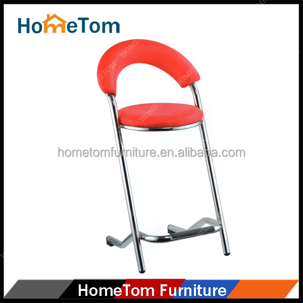 New Modern Red Leather Metal Bar Chair Model