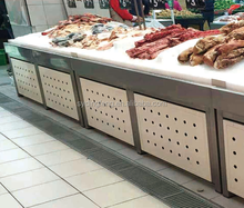Dingfeng customized supermarket stainless steel stand ice case table frozen food meat display freezer