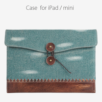 Latest Style High Quality denim genuine leather case for ipad