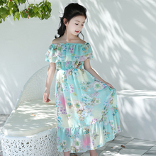 2019 bohemian style chiffon fabric <strong>girl's</strong> long toddler summer <strong>dress</strong>