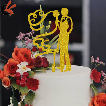wholesale High Quality GOLD Sweet Wedding acrylic Cake Topper