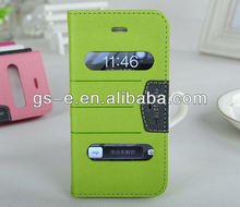 2014 New Arrival mango Series Flip leather window view case for samsung galaxy note 3