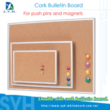 Double sied magnetic push pins cork board white frame supplier