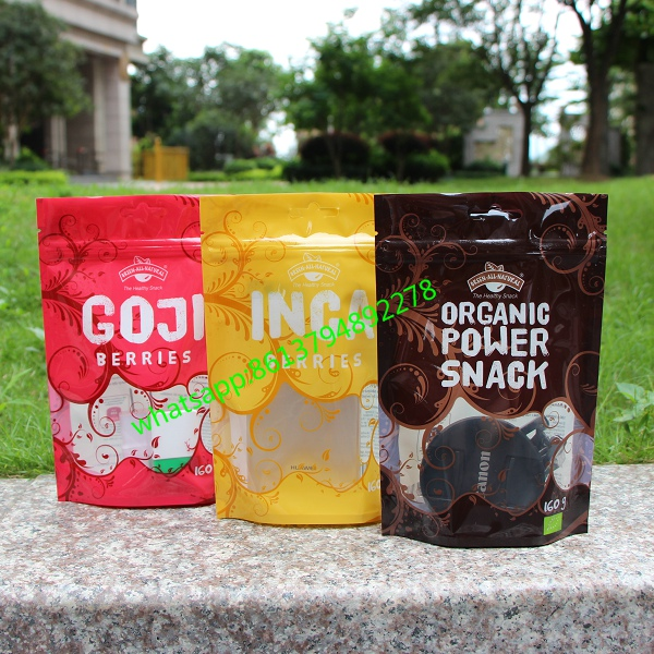 custom food grade plastic stand-up pouch packaging for cashew nuts packaging