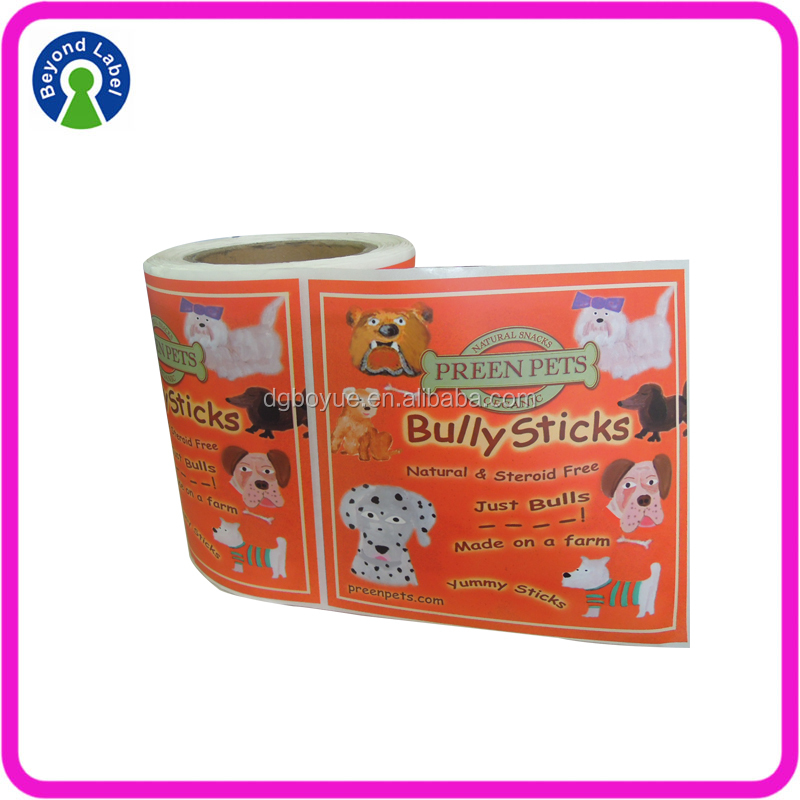 Full Color Printing Private Preen Pet Food label vinyl roll adhesive packing sticker