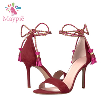 Wholesale Italian ODM Ankle Straps Shoes Mature Sexy Women High Heel Sandals with Tassel