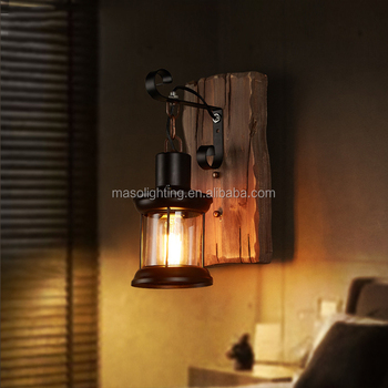 Natural wood carved lamp wall mounted square vintage antique color design e27 lamp holder