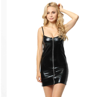 Hot sexy zipper front leather lingerie women tight bodysuit