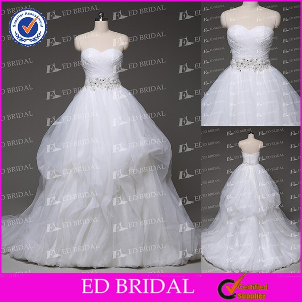 2015 Ball Gown Sweetheart Neckline Side-draped Pick-ups Lace Appliqued Crystal Wedding Factory Dresses