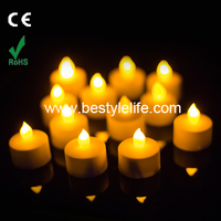 Yellow flicker rechargeable battery operated flameless tea light