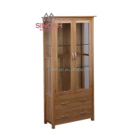 306 Rustic style natural oak glass display cabinet /living room furniture