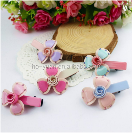 Hot selling sweet plastic hairgrips for baby girls, with sunflower pattern , hair band to decorate