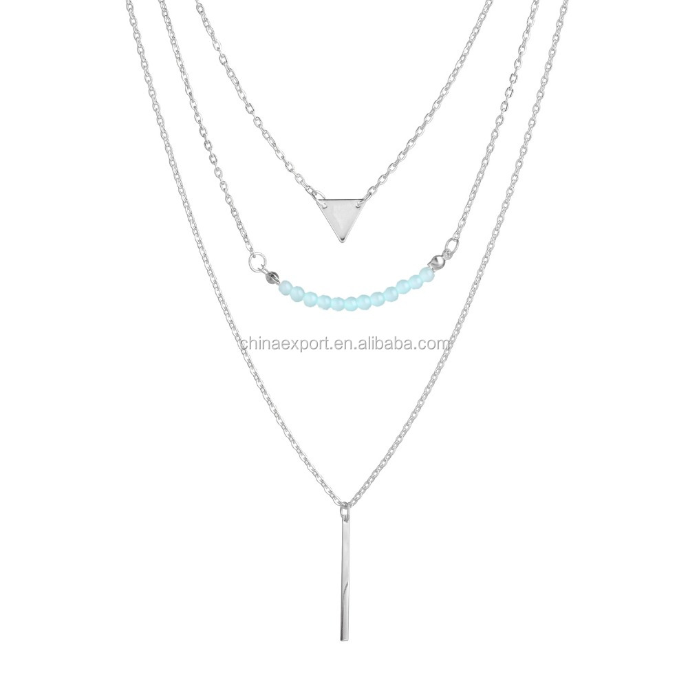 2017 new product silver plating bar triangle necklace