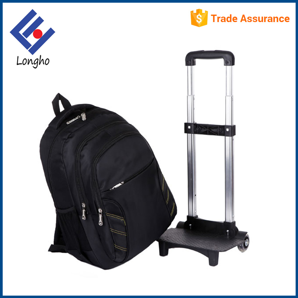 Roller blade skate wheels trolley backpack with detachable trolley, hidden back straps laptop bag with wheels