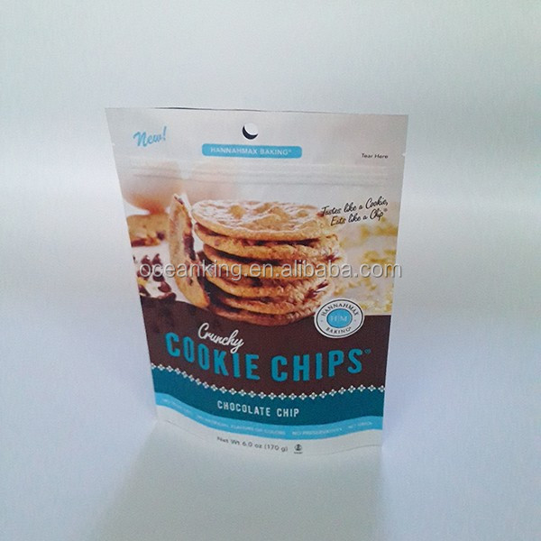 resealable zipper stand up food package cookie chips bag