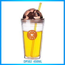 New design 16oz promotional reusable plastic drinks cup with long straw