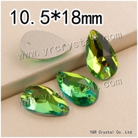 YR3230 10.5*18mm peridot 108pcs/pack crystal sew on rhinestones diamonds stones beads for dress