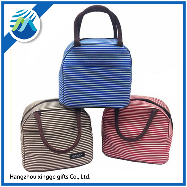 2017 New arrival Fasion Lady Stripe Portable Insulation lunch Bag