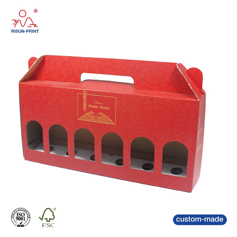 Custom printing corrugated 6 pack bottle wine cardboard bottle carrier gift box with window.