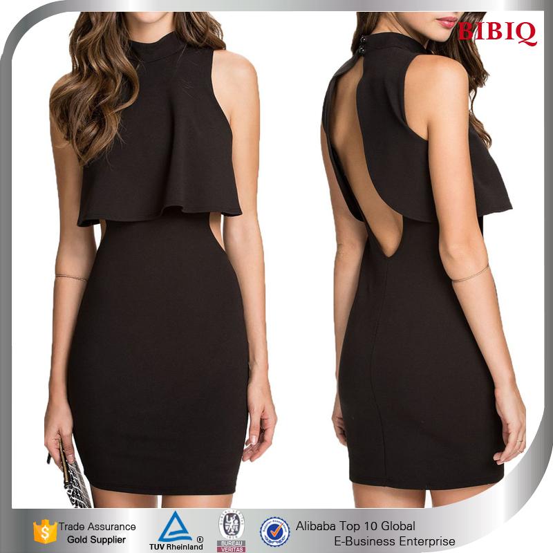Ladies High Neck Dress Backless Little Black Dress Sheer
