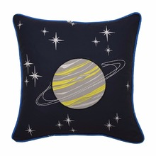 Decorative Embroidered Planet and Stars Pattern Polyester Pillow Case
