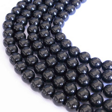 Dazzling Gloss Black Plastic Faux Pearl strands for Jewelry Making