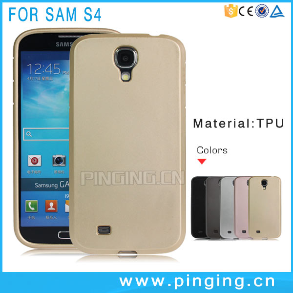 2MM Thick Metallic Paint Soft TPU Back Cover For Samsung Galaxy S4 Cases