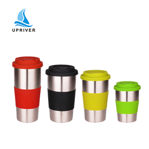 wholesale stainless steel coffee mug water cup with rubber lid custom vacuum flask
