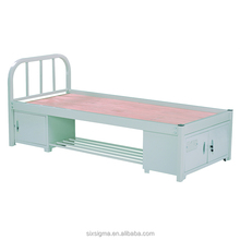 Steel single layer bed with storage used school furniture for sale