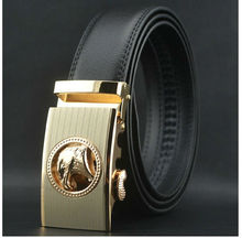 2013 men gold automatic buckle black genuine italian cow split eagle leather belt EC91616