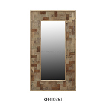 Framed wood wall mirror rectangle shape for living room