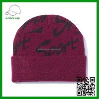 Sports Folded Brim Latest Arrival Selected Custom Made Printed Letters Cheap Beanie Hats