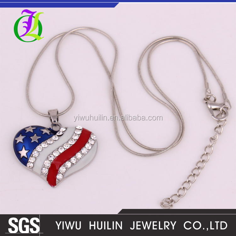 IMG 7839 Yiwu Huilin Jewelry American style red and blue stars crystal pendant fashion necklace jewelry