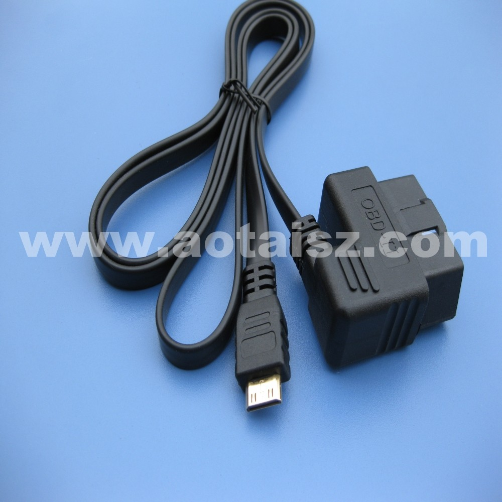 China shop OBD II diagnostic ribbon cable male to mini USB charge