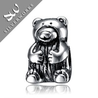 Bear Design 925 Sterling Silver European Beads Jewelry new york silver jewelry