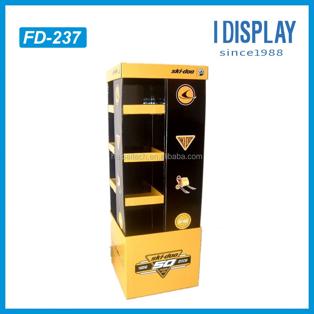 4 tiers Special Shape Cardboard POP Display Standing Shelf For Snowmobile Accessories With Multi-faces