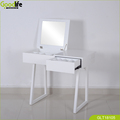 Flip up mirror make up table with storage shelf on back